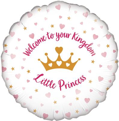 Oaktree 18inch Welcome Little Princess Hearts Holographic - Foil Balloons