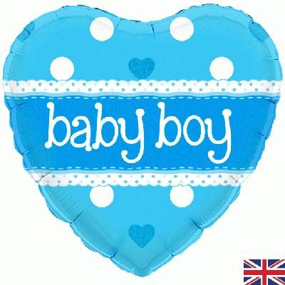 Oaktree Baby Boy Heart Holographic - Foil Balloons