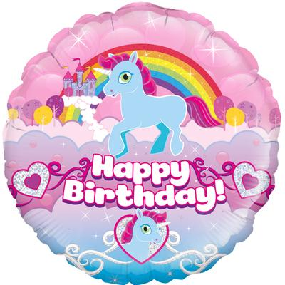 Oaktree Unicorn Rainbow Birthday Holographic - Foil Balloons