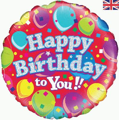 Oaktree Happy Birthday To You Balloons Holographic