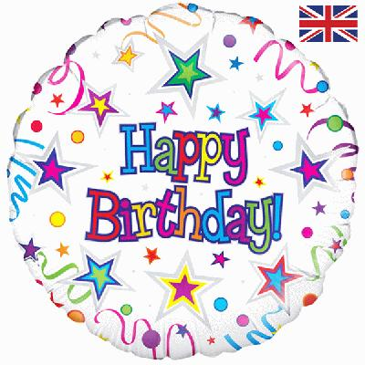 Oaktree Happy Birthday Ribbons & Stars - Foil Balloons