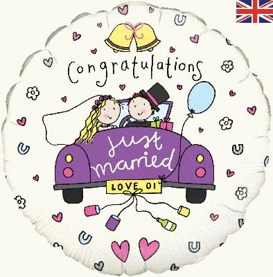Congratulations Just Married - Foil Balloons