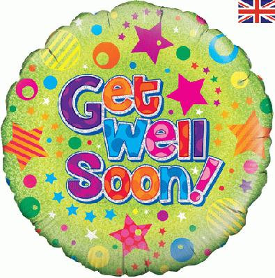 Oaktree Get Well Soon Dots and Stars - Holographic - Foil Balloons