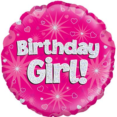 Oaktree Birthday Girl Holographic - Foil Balloons