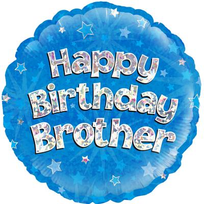 Oaktree Happy Birthday Brother Holographic - Foil Balloons