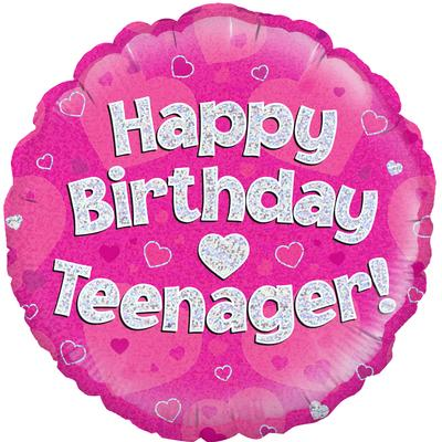 "Oaktree 18"" Happy Birthday Teenager Pink Holographic - Foil Balloons"