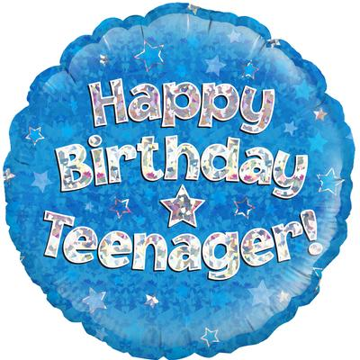 "Oaktree 18"" Happy Birthday Teenager Blue Holographic - Foil Balloons"
