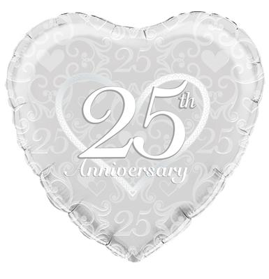 Oaktree Happy 25th Anniversary Filigree - Foil Balloons