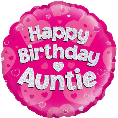 Oaktree Happy Birthday Auntie holographic - Foil Balloons