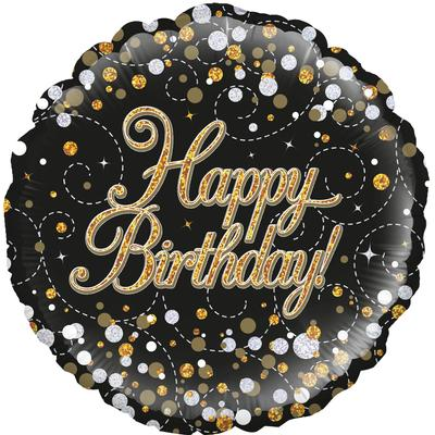 Oaktree 18inch Sparkling Fizz Birthday Black and Gold Holographic - Foil Balloons