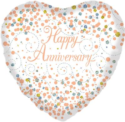 Oaktree 18inch Sparkling Fizz Happy Anniversary White & Rose Gold Holographic - Foil Balloons