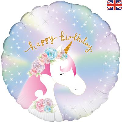 Oaktree 18inch Pastel Unicorn Birthday Holographic - Foil Balloons