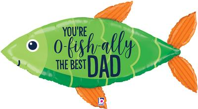 Betallic 45inch Shape OFishally Best Dad (D) Packaged - Foil Balloons