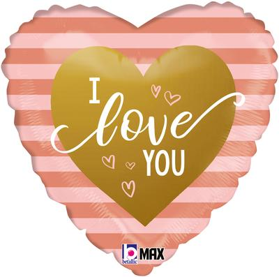 Betallic 18inch Rose Gold Stripes I Love You - Foil Balloons