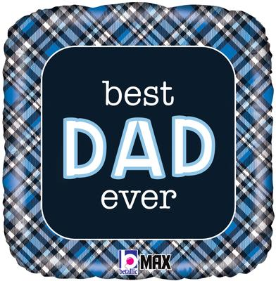 Betallic 18inch Best Dad Ever Plaid - Foil Balloons