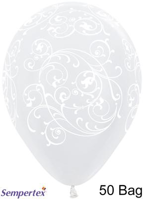 11inch Filigree Pearl 406 White x 50 - Latex Balloons