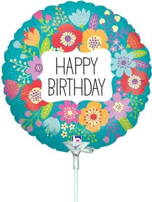 9inch Wildflowers Birthday Holographic (Pre Inflated) - Foil Balloons