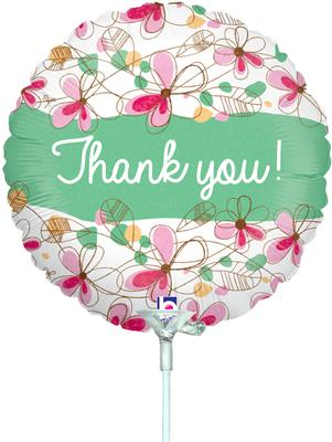 9inch Floral Thank You Holographic (Pre Inflated) - Foil Balloons