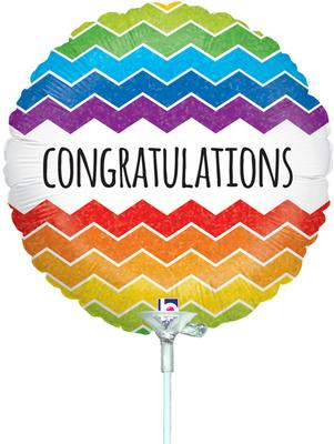 9inch Chevron Congratulations Holographic (Pre Inflated) - Foil Balloons
