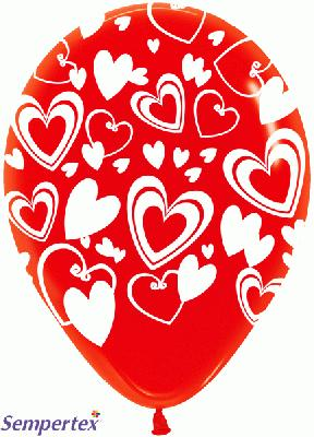 11inch Crystal Allover Large Hearts x50 - Latex Balloons