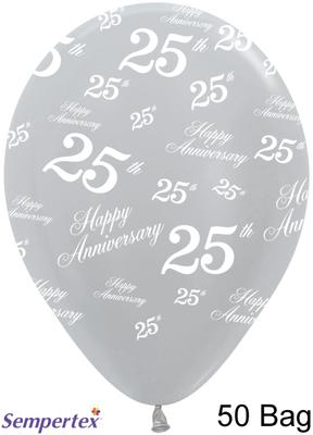 Pearl 481 Silver Allover Happy Anniversary 25th x50 - Latex Balloons