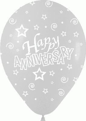 Crystal Clear Allover Happy Anniversary - Latex Balloons