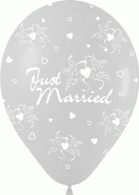 Crystal Clear Allover Just Married - Latex Balloons