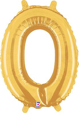 Megaloon Jrs 14inch Number 0 Gold packaged - Foil Balloons