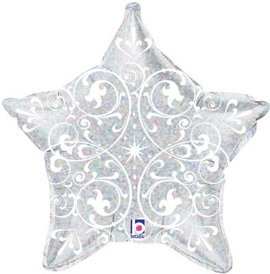 "21"" Filigree Silver Star Holographic - Foil Balloons"