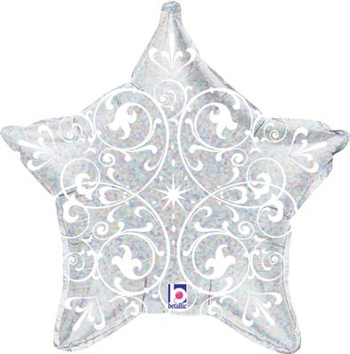 Betallic 21inch Filigree Silver Star Holographic - Seasonal