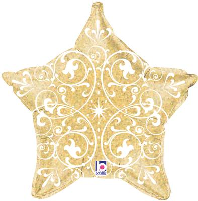 "21"" Filigree Gold Star Holographic - Foil Balloons"