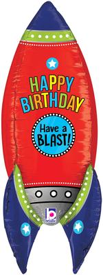 Betallic 36inch Dimensionals Blasting Birthday Rocket (D4) Packaged - Foil Balloons