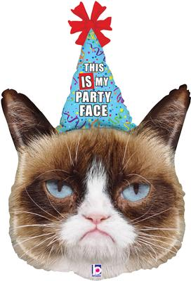 36inch Grumpy Cat® Party Face Packaged - Foil Balloons