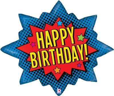 Superhero Birthday Burst 32inch (C) - Foil Balloons