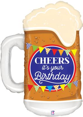Betallic 34inch Shape Cheers Birthday Beer (D) Pkg - Foil Balloons