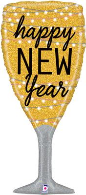 Betallic 37inch Shape New Year Champagne Glass (C) Pkg - Seasonal
