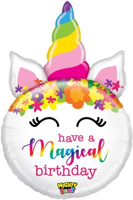 Betallic 33inch Shape Mighty Birthday Unicorn Pkg - Foil Balloons