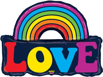 Betallic 37inch Shape Mighty Love Rainbown (MBE) Pkg - Foil Balloons
