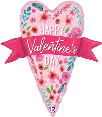 Betallic 29inch Shape Watercolour Valentine Banner Heart (B) Pkg - Seasonal