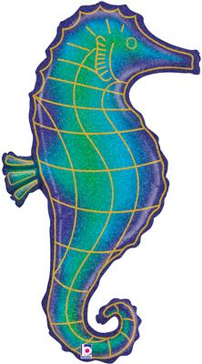 Betallic 36inch Shape Glitter Seahorse Holographic (C) Pkg - Foil Balloons