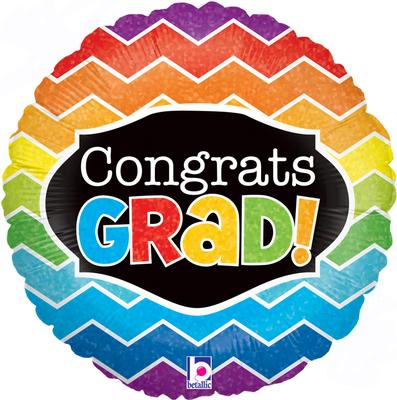Betallic 18inch Congrats Grad Chevron Holographic - Foil Balloons