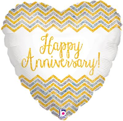 Chevron Anniversary Holographic - Foil Balloons