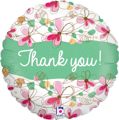 Floral Thank You Holographic - Foil Balloons