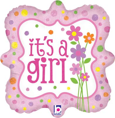 Betallic 18inch Its a Girl Flowers Holographic - Foil Balloons