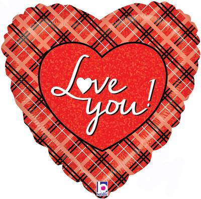 Betallic 18inch Love You Plaid Holographic - Foil Balloons