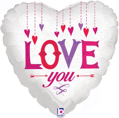 Betallic 18inch Love You Hanging Hearts Holographic - Seasonal