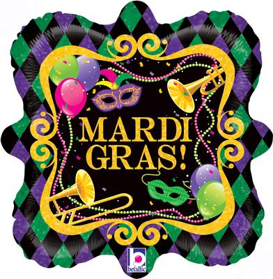 Betallic 18inch Mardi Gras Party Holographic - Foil Balloons