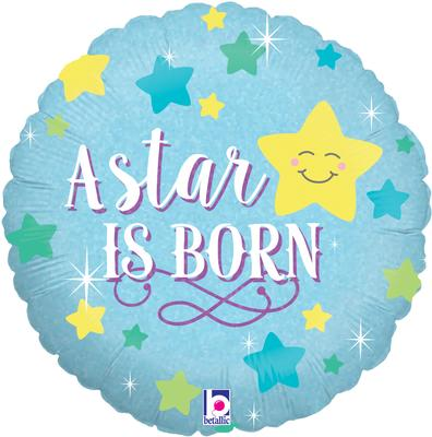 A Star is Born Boy Holographic - Foil Balloons