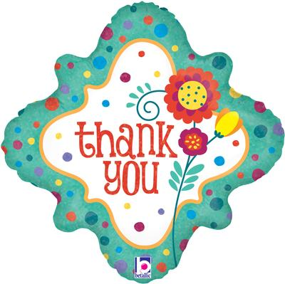Thank You Dots and Flowers Holographic - Foil Balloons