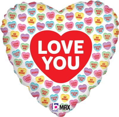 Love You Conversation Hearts - Foil Balloons